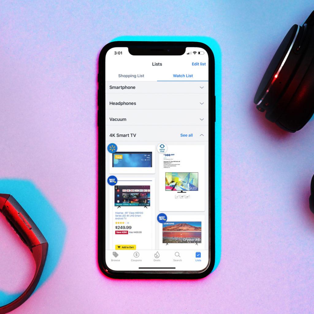 Flipp app Watch List showing deals for 4K Smart TV from Walmart, Sam's Club, and Best Buy.