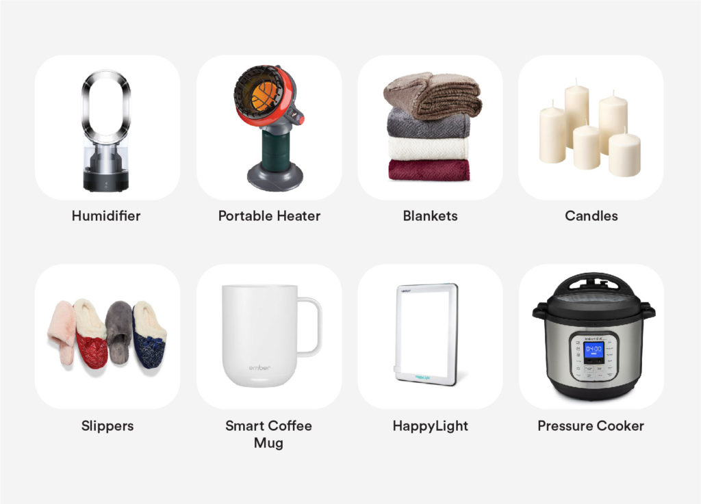 Product images: humidifier, portable heater, blankets, candles, slippers, smart coffee mug, HappyLight, pressure cooker.