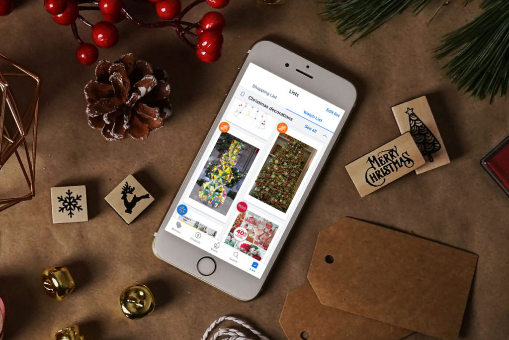 Flipp app showing deals for Christmas trees and lights