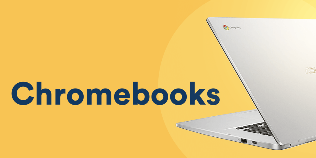 silver Chromebook laptop on a solid yellow background