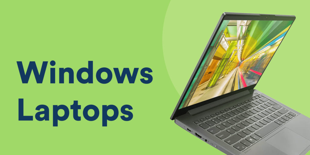 black Windows laptop on a solid green background