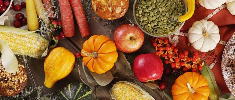 fall harvest veggies on tabletop